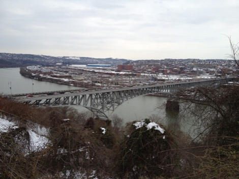 Just south of Frick Park, overlooking the Homestead Grays Bridge and Homestead on the other side of the river