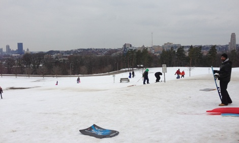 Sled Riding near the Schenley Oval Sportsplex and Skating Rink