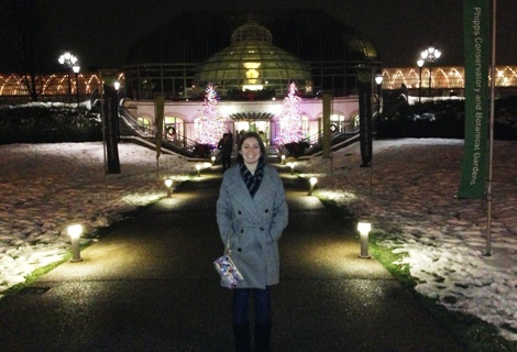 Kim anxiously awaiting entrance to the Winter Flower Show and Winter Light Garden...