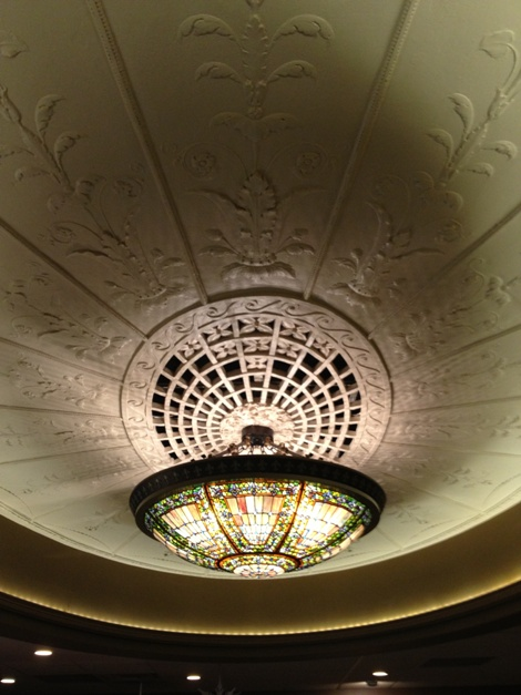 The original, and beautiful, lobby focal point found hidden under a drop-ceiling during the 2012 renovation!