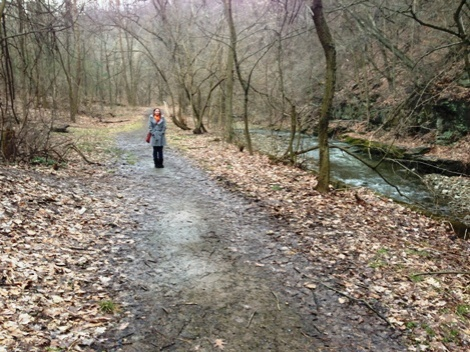 Kim next to Saw Mill Run, technically on the Mt. Washington side of the water, but on the Beechview-Seldom Seen Greenway path from Rt. 51