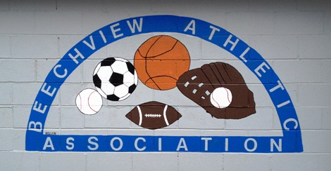 A Beechview Athletic Association mural at Venucci Field, just across from the spray park!