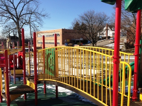 A view of the early childhood center from the nearby playground