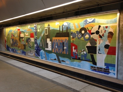 The mural in the Gateway Plaza T-stop